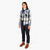 3/4 front model shot of Topo Designs Women's Mountain Shirt Heavyweight in Natural/Black Plaid.