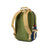 Detail back shot of Topo Designs Standard Pack in Olive/Navy showing backpack straps and expandable water bottle pockets.