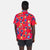 Close-up back model shot of Topo Designs Men's Tour Shirt - Floral in red floral print.