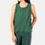 Close-up front model shot of Topo Designs Women's Tech Tank in Forest green.