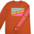 Detail shot of the Men's Long Sleeve Team Tee in clay orange showing Topo Designs on sleeve