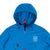 Front detail shot of Topo Designs Men's Wind Anorak - Sport in Blue showing hood and top zipper