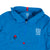 Front detail shot of Topo Designs Men's Wind Anorak - Sport in Blue showing hood rolled down and secured with snap.