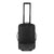 Front detail shot of Topo Designs Travel Bag Roller 35L Premium carry-on suitcase in Premium Black showing telescoping handle.