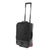 3/4 front detail shot of Topo Designs Travel Bag Roller 35L Premium carry-on suitcase in Premium Black showing telescoping handle.