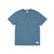Front product shot of Topo Designs x Alternative Eco-Jersey Crew Tee in alpine teal grid