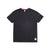 Front product shot of Topo Designs x Alternative Eco-Jersey Crew Tee in true black grid