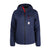 Front product shot of Topo Designs women's puffer hoodie in navy blue
