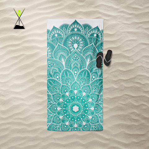 Green Mandala Beach Towel