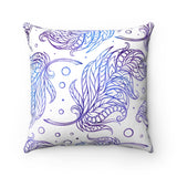Blue Feathers Spun Polyester Square Pillow