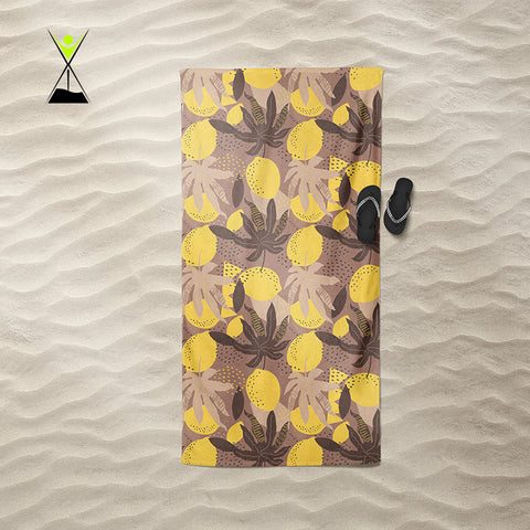 Lemon Leaves Beach Towel