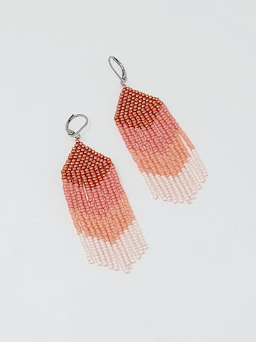 Salmon Ombre Danglers - Three Sisters By Emma