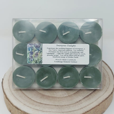 Peace Tree Candles 12 Pack of Sweetgrass Tealight