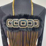 Multi Strand Beaded Fur Statement Necklace by Helen Oro