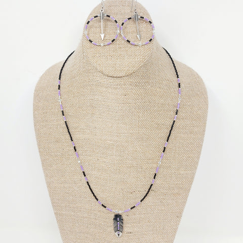 Purple Earring & Necklace Set