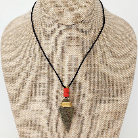 Hand Carved Stone Arrowhead Necklaces by Gerald S.