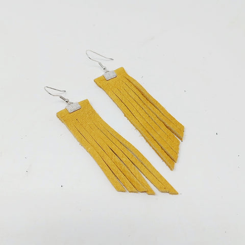 Small Tan Elk Hide Fringe Earrings by SheNative