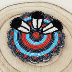 Beaded Rosette & Feather Hair Barrette