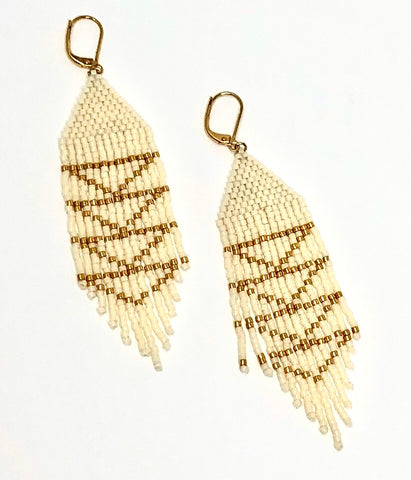 Pearl & Golden Arrow Danglers -Three sisters By Emma Earrings