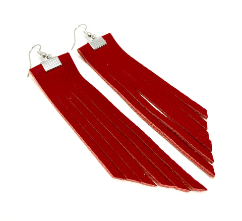 Small Leather Fringe Earrings By SheNative