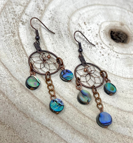 Monague Dreamcatcher Earrings with Small Paua Shells