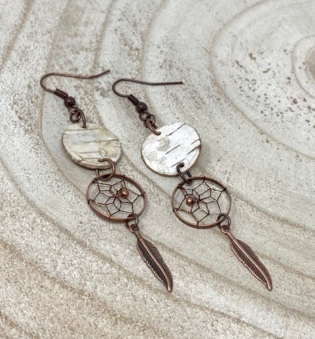 Monague Copper Dreamcatcher Earrings w/ Birch Bark Disc