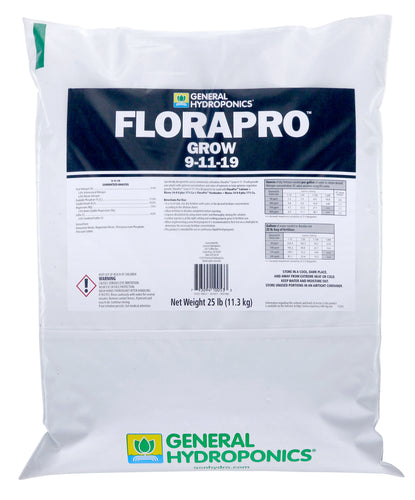General Hydroponics® FloraPro™ Grow Soluble 9-11-19 (Fertilizer)-25 lb Bag