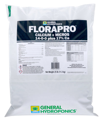 General Hydroponics® FloraPro™ Calcium + Micros Soluble 14-0-0 +17% Ca (Fertilizer)- 25 lb Bag