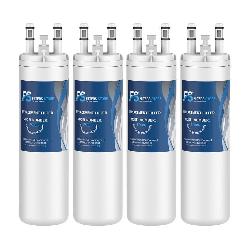 FS Replacement for PureSource WF3CB, PureSource 3, AP4567491 Refrigerator Water Filter, 4 Packs