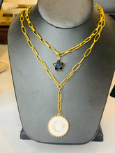 Load image into Gallery viewer, White moon enamel pendant on gold link chain.