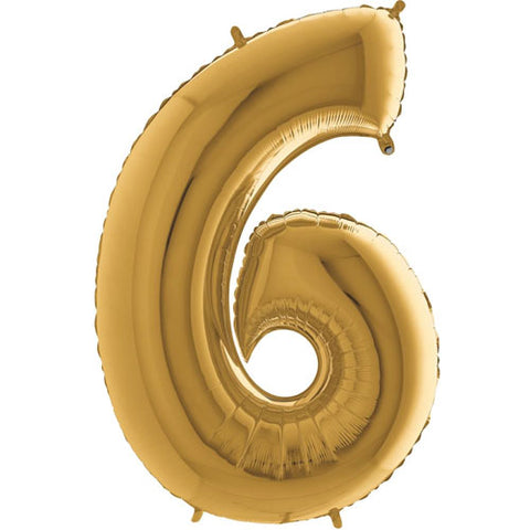 40 inch Gold Number 6 Foil Balloon