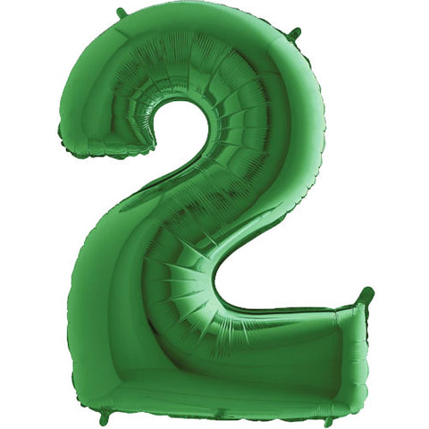 40 inch Green Number 2 Foil Balloon