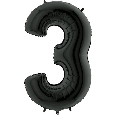 40 inch Black Number 3 Foil Balloon