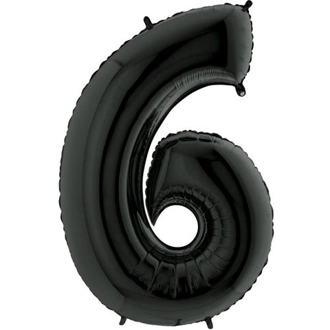 40 inch Black Number 6 Foil Balloon