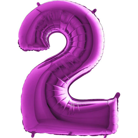 40 inch Purple Number 2 Foil Balloon
