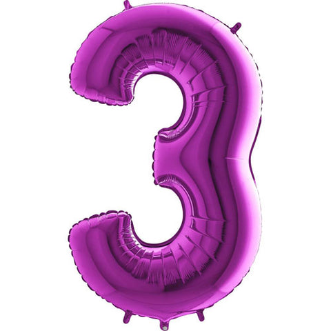 40 inch Purple Number 3 Foil Balloon
