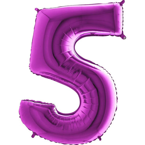 40 inch Purple Number 5 Foil Balloon