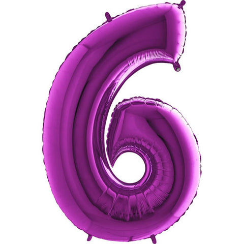 40 inch Purple Number 6 Foil Balloon