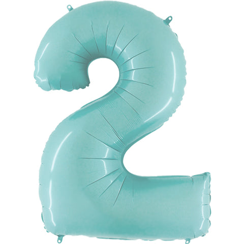 40 inch Pastel Blue Number 2 Foil Balloon