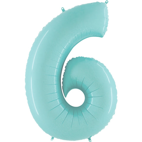 40 inch Pastel Blue Number 6 Foil Balloon