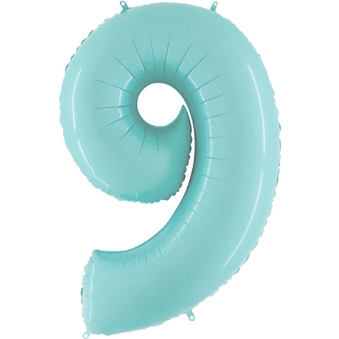 40 inch Pastel Blue Number 9 Foil Balloon