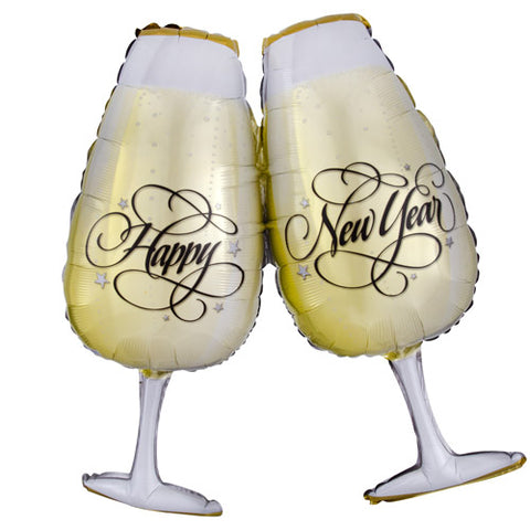 30 inch New Year Toasting Glasses Supershape Foil Balloon