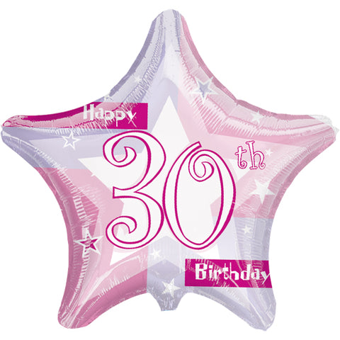 19 inch Pink Shimmer 30 Foil Star Balloon