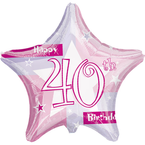 19 inch Pink Shimmer 40 Foil Star Balloon