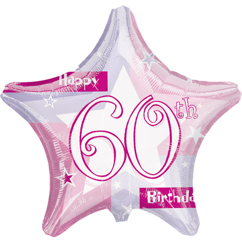 19 inch Pink Shimmer 60 Foil Star Balloon