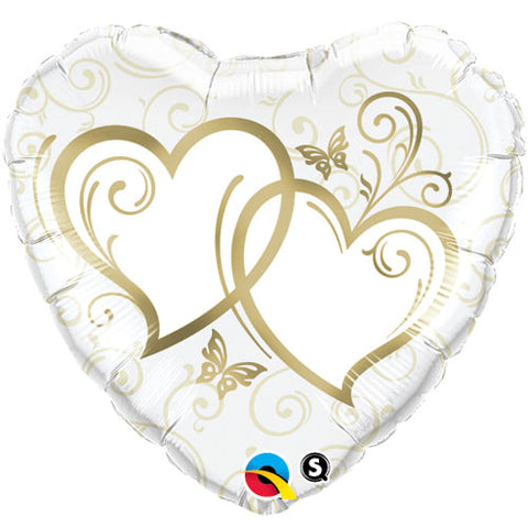 18 inch Entwined Hearts Gold Heart Foil Balloon