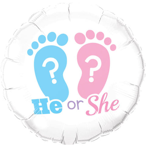 18 inch He or She? Footprints Round Foil Balloon