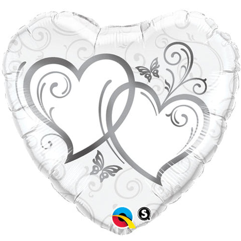 36 inch Entwined Hearts Silver Heart Foil Balloon