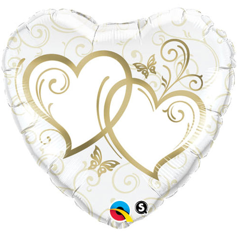36 inch Entwined Hearts Gold Heart Foil Balloon