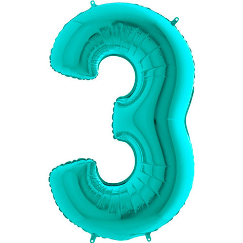 40 inch Tiffany Blue Number 3 Foil Balloon